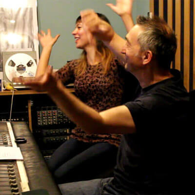 Anna-Christina and Adie Hardy filming Music Audio Stories video