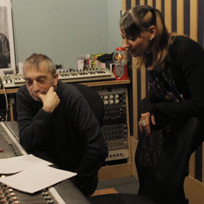 Anna-Christina and Adie Hardy making an introduction video to Music Audio Stories