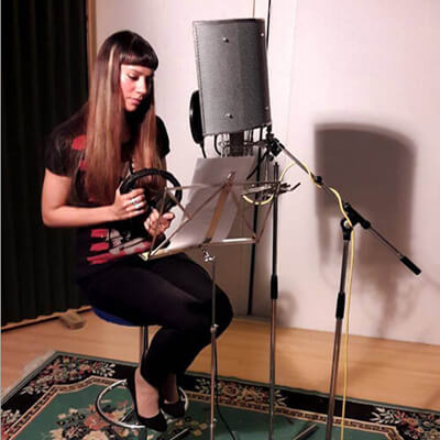 Storytime with Anna-Christina recording voiceovers for Music Audio Stories
